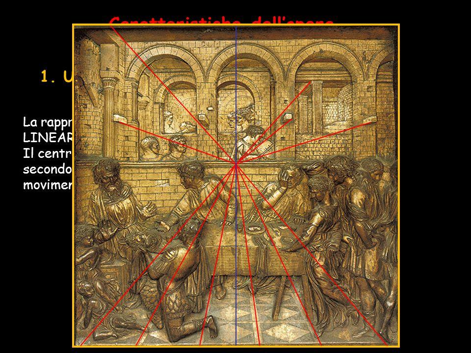 Caratteristiche dell'opera 1.Uso sapiente della PROSPETTIVA La rappresentazione è ordinata secondo la PROSPETTIVA LINEARE con UN UNICO PUNTO DI FUGA.