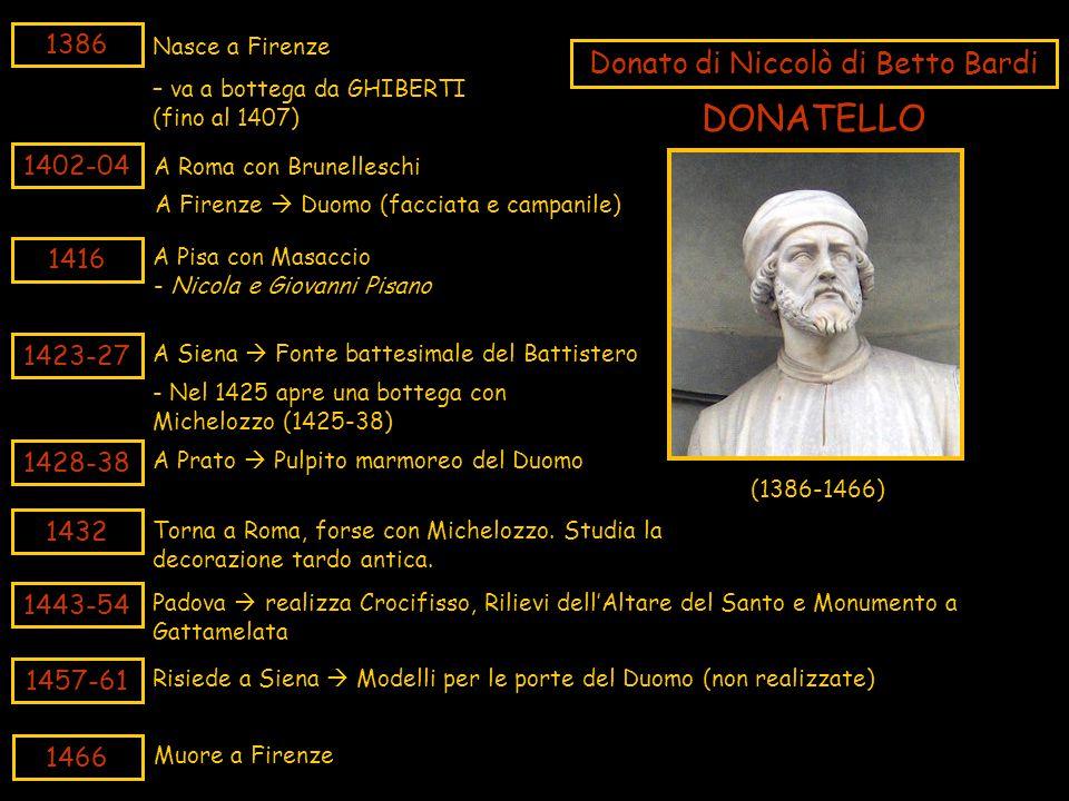 1386 Nasce a Firenze 1402-04 A Roma con Brunelleschi Donato di Niccolò di Betto Bardi – va a bottega da GHIBERTI (fino al 1407) 1416 A Pisa con Masacc