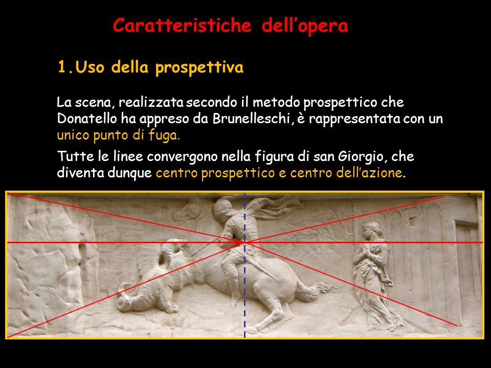 Caratteristiche dell'opera La scena, realizzata secondo il metodo prospettico che Donatello ha appreso da Brunelleschi, è rappresentata con un unico p