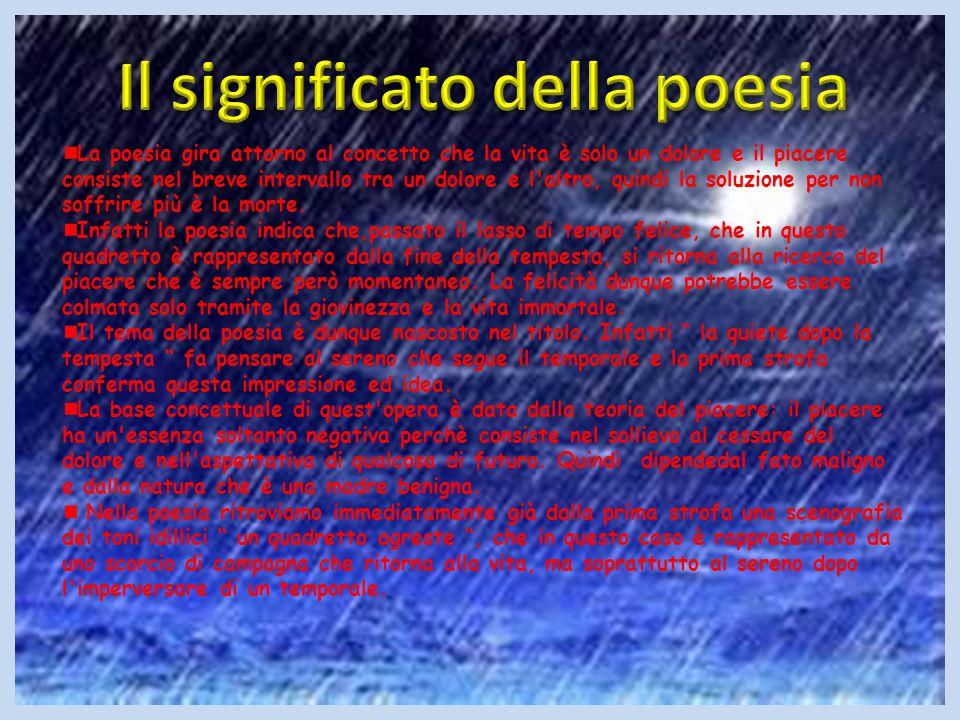 La poesia gira attorno al concetto che la vita è solo un dolore e il piacere consiste nel breve intervallo tra un dolore e l'altro, quindi la soluzion