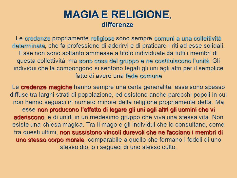 MAGIA E RELIGIONE, differenze credenzereligiosecomuni a una collettività determinata sono cosa del gruppo e ne costituiscono l'unità fede comune Le cr