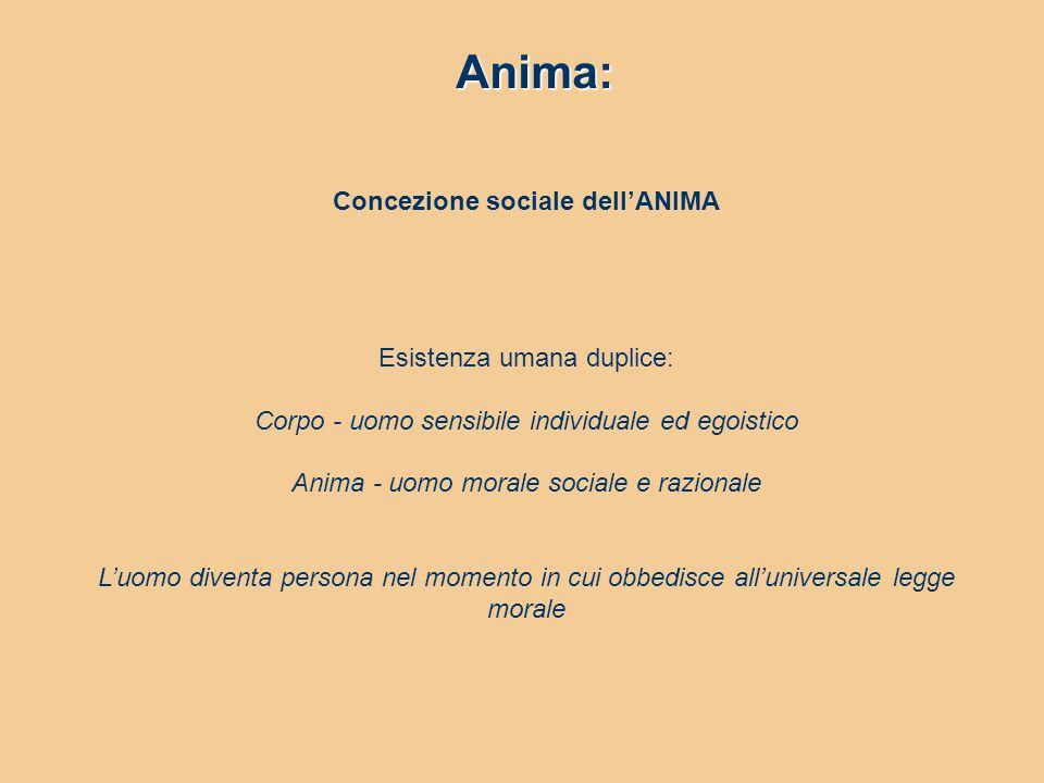 Anima: Concezione sociale dell'ANIMA Esistenza umana duplice: Corpo - uomo sensibile individuale ed egoistico Anima - uomo morale sociale e razionale