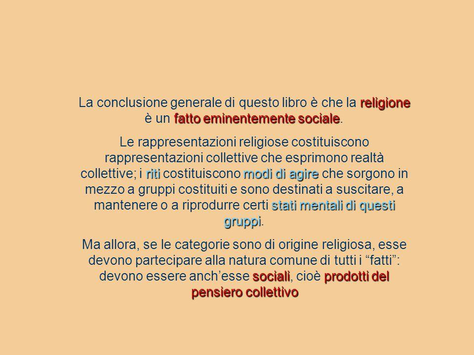 religione fatto eminentemente sociale La conclusione generale di questo libro è che la religione è un fatto eminentemente sociale. ritimodi di agire s