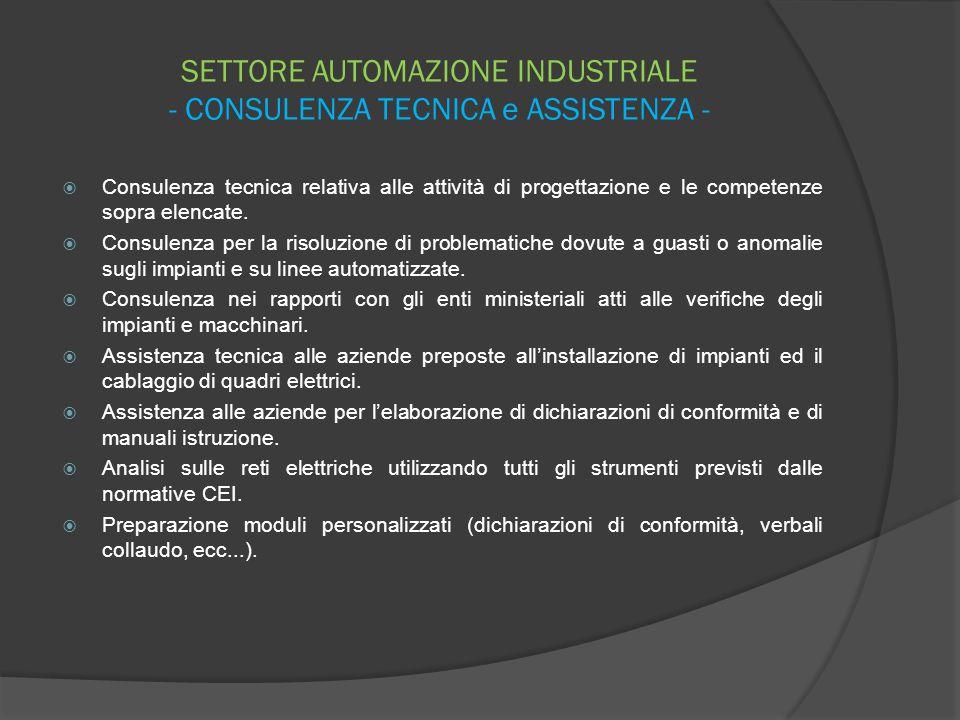 SETTORE AUTOMAZIONE INDUSTRIALE - CONSULENZA TECNICA e ASSISTENZA -  Consulenza tecnica relativa alle attività di progettazione e le competenze sopra