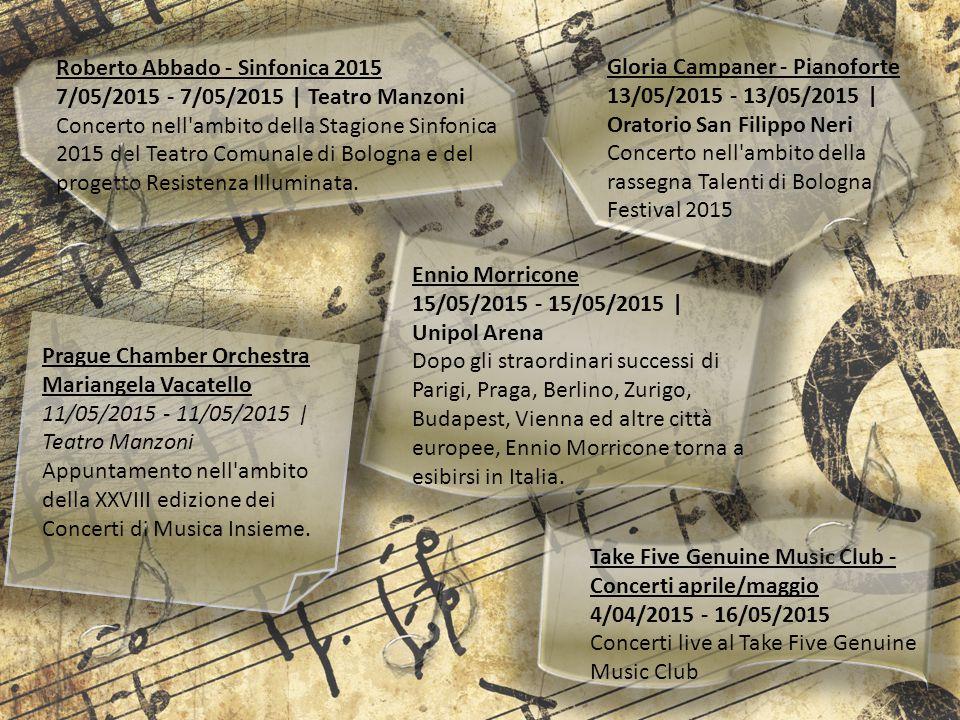 Roberto Abbado - Sinfonica 2015 7/05/2015 - 7/05/2015 | Teatro Manzoni Concerto nell'ambito della Stagione Sinfonica 2015 del Teatro Comunale di Bolog