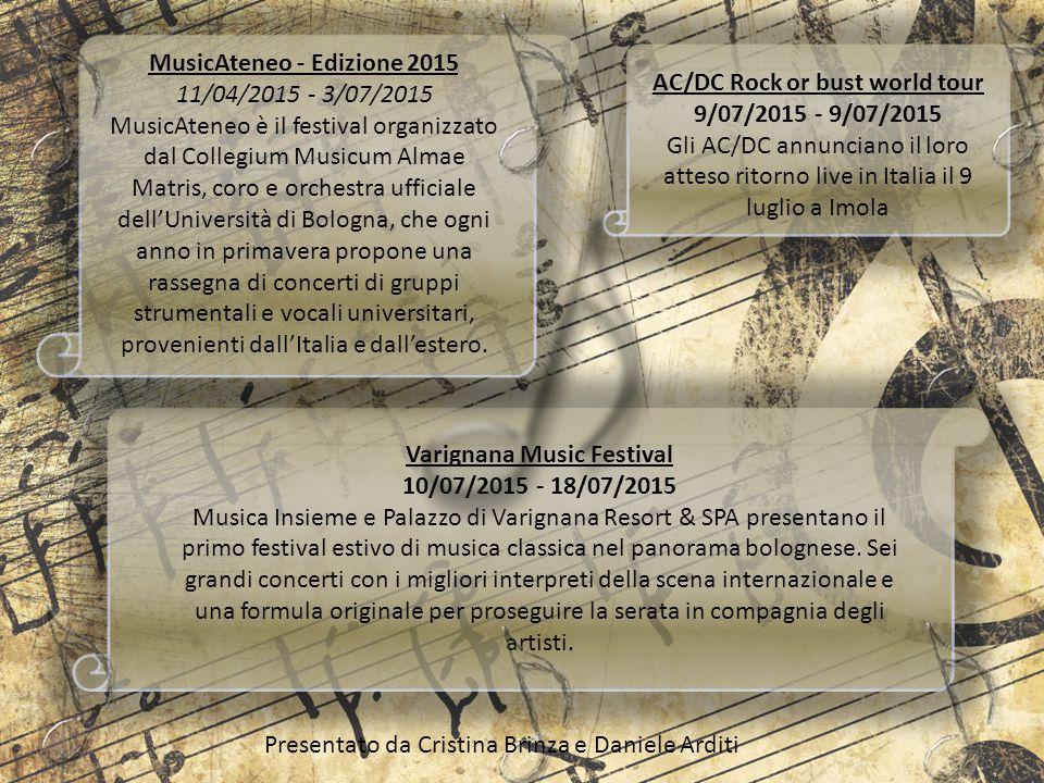 MusicAteneo - Edizione 2015 11/04/2015 - 3/07/2015 MusicAteneo è il festival organizzato dal Collegium Musicum Almae Matris, coro e orchestra ufficial