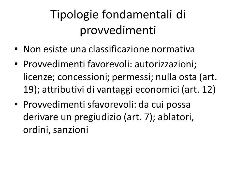 Tipologie fondamentali di provvedimenti Non esiste una classificazione normativa Provvedimenti favorevoli: autorizzazioni; licenze; concessioni; permessi; nulla osta (art.