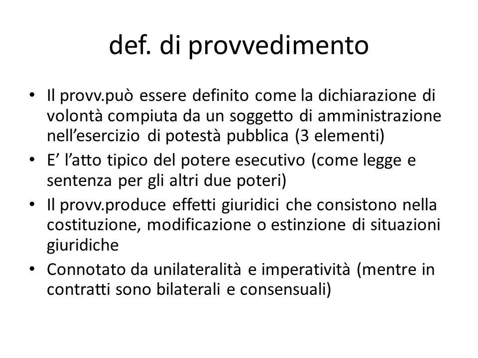 def. di provvedimento Il provv.può essere definito come la dichiarazione di volontà compiuta da un soggetto di amministrazione nell'esercizio di potes