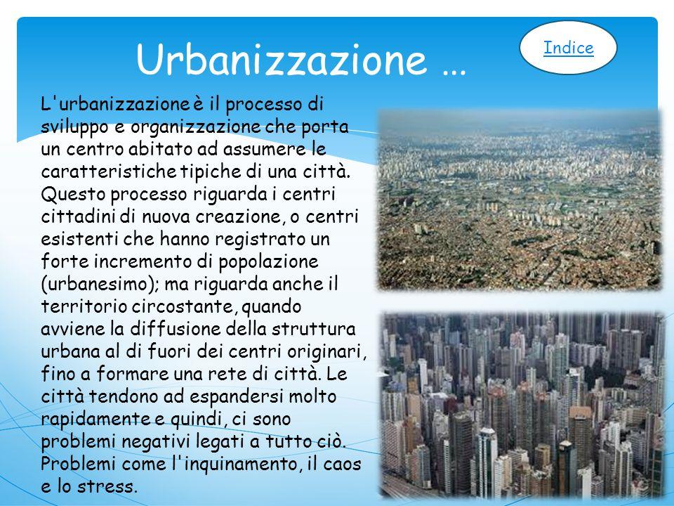 Urbanizzazione … L urbanizzazione è il processo di sviluppo e organizzazione che porta un centro abitato ad assumere le caratteristiche tipiche di una città.