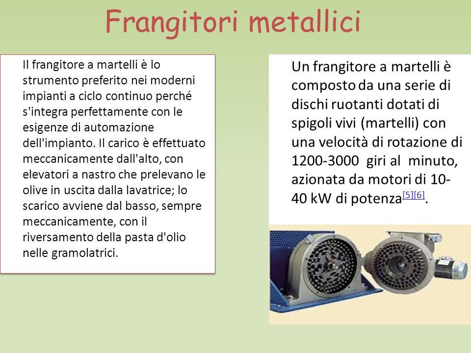 Frangitori metallici Il frangitore a martelli è lo strumento preferito nei moderni impianti a ciclo continuo perché s integra perfettamente con le esigenze di automazione dell impianto.