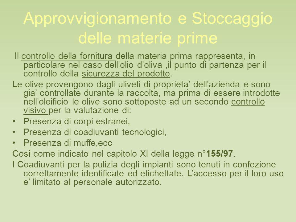 Approvvigionamento e Stoccaggio delle materie prime Il controllo della fornitura della materia prima rappresenta, in particolare nel caso dell'olio d'oliva,il punto di partenza per il controllo della sicurezza del prodotto.