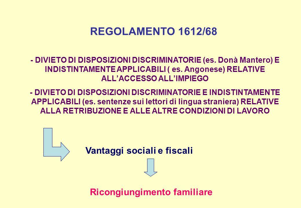 REGOLAMENTO 1612/68 - DIVIETO DI DISPOSIZIONI DISCRIMINATORIE (es. Donà Mantero) E INDISTINTAMENTE APPLICABILI ( es. Angonese) RELATIVE ALL'ACCESSO AL