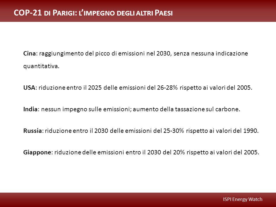 ISPI Energy Watch COP-21 DI P ARIGI : L ' IMPEGNO DEGLI ALTRI P AESI Cina: raggiungimento del picco di emissioni nel 2030, senza nessuna indicazione quantitativa.