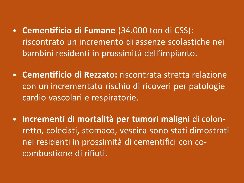 Cementificio di Fumane (34.000 ton di CSS): riscontrato un incremento di assenze scolastiche nei bambini residenti in prossimità dell'impianto. Cement