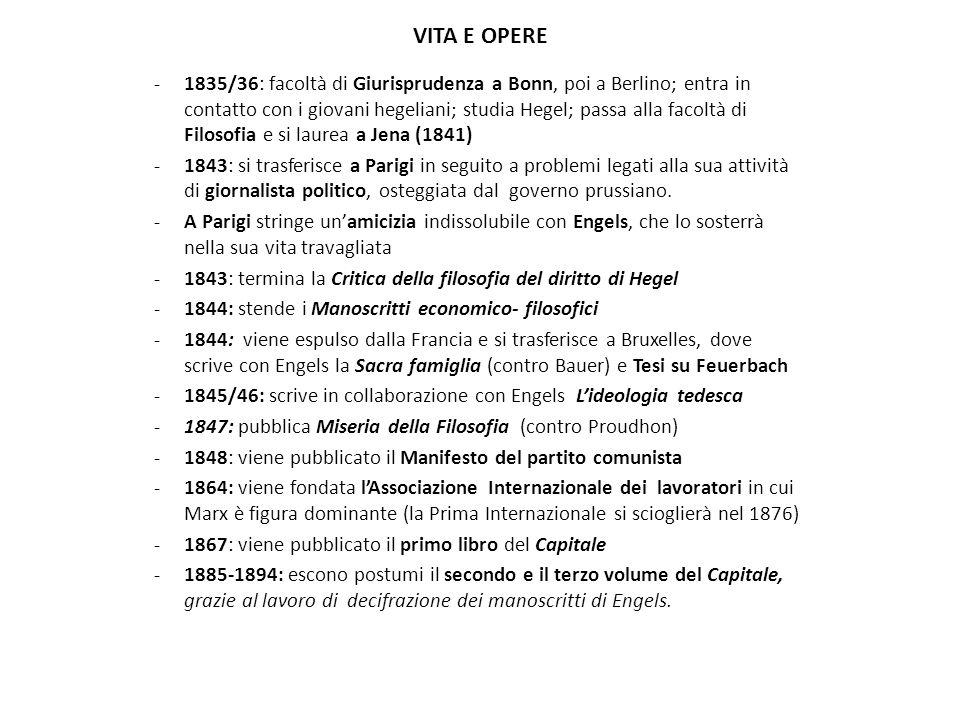 VITA E OPERE -1835/36: facoltà di Giurisprudenza a Bonn, poi a Berlino; entra in contatto con i giovani hegeliani; studia Hegel; passa alla facoltà di