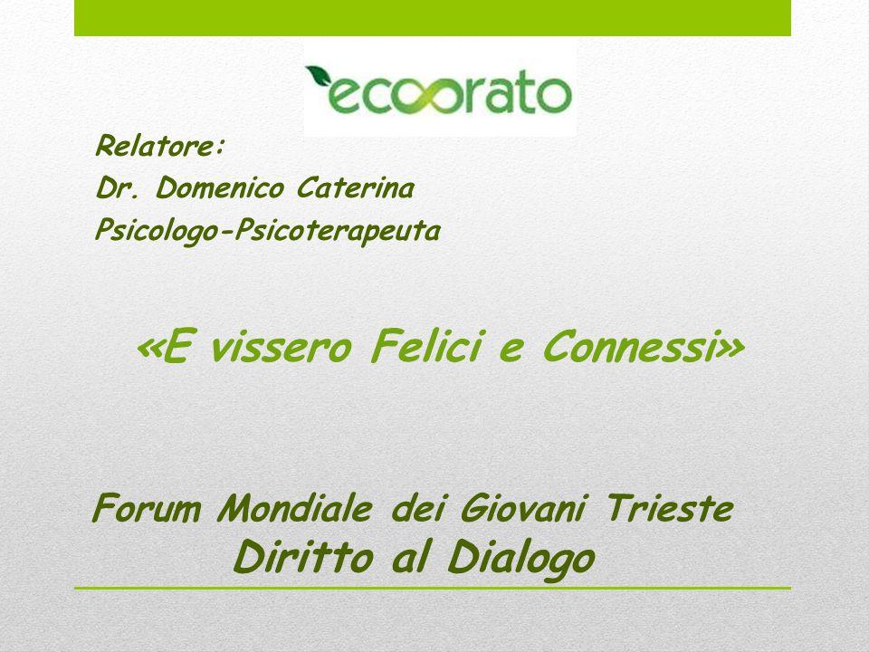 Forum Mondiale dei Giovani Trieste Diritto al Dialogo Relatore: Dr.