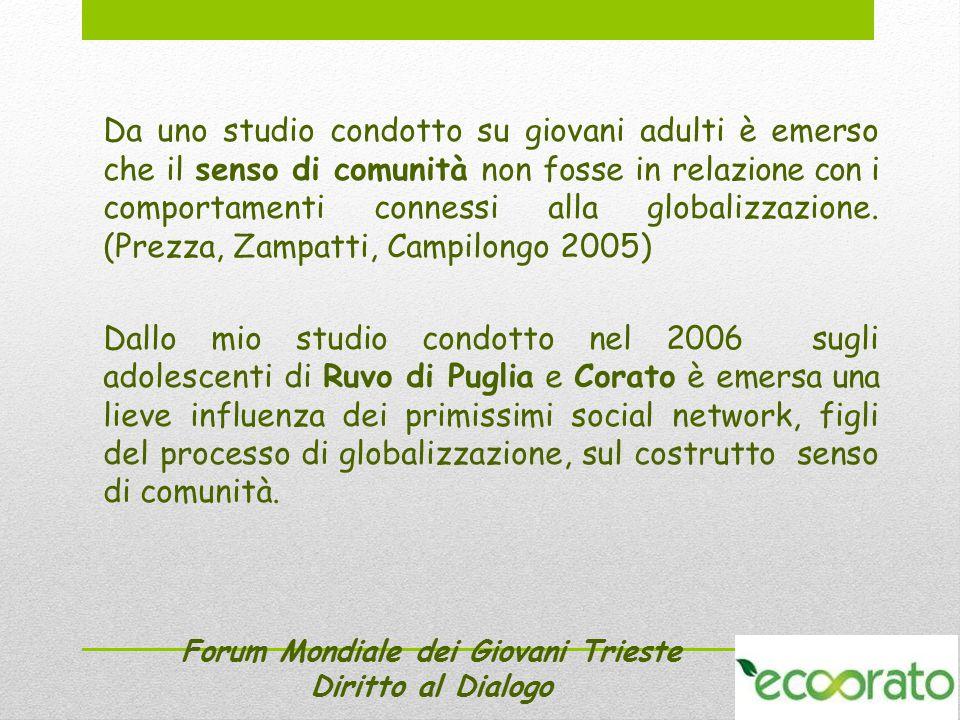 Forum Mondiale dei Giovani Trieste Diritto al Dialogo Sarebbe interessante riproporre tale studio nel 2013.