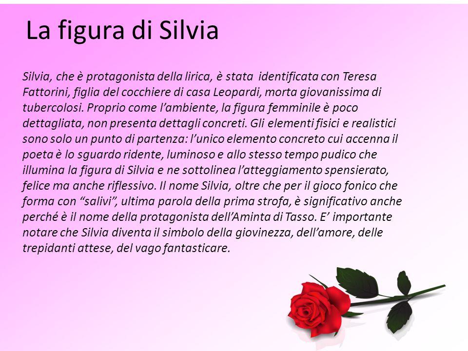 La figura di Silvia Silvia, che è protagonista della lirica, è stata identificata con Teresa Fattorini, figlia del cocchiere di casa Leopardi, morta g