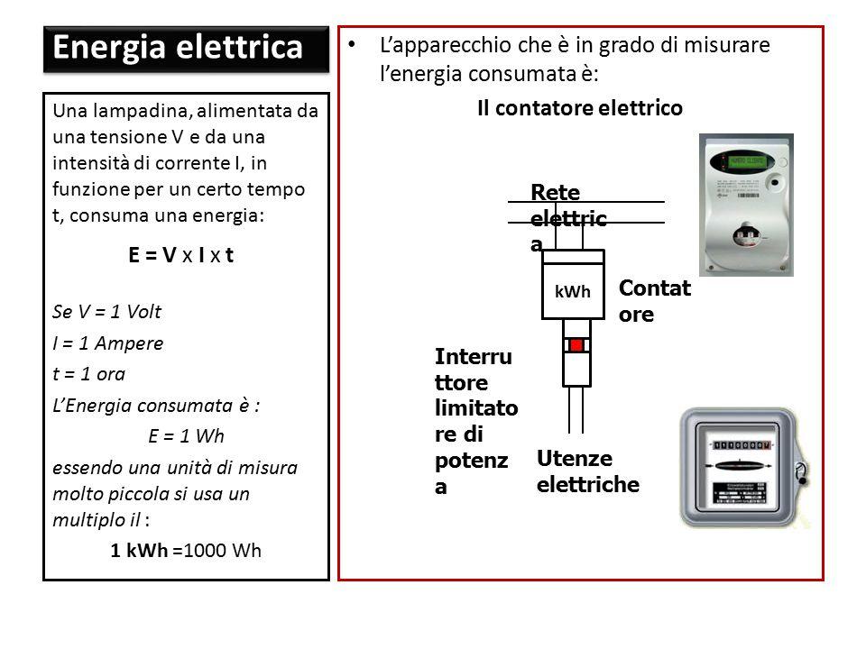 L'apparecchio che è in grado di misurare l'energia consumata è: Il contatore elettrico Una lampadina, alimentata da una tensione V e da una intensità