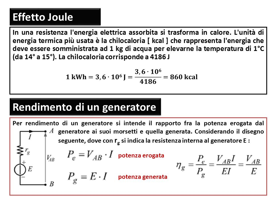 Effetto Joule Effetto Joule Per rendimento di un generatore si intende il rapporto fra la potenza erogata dal generatore ai suoi morsetti e quella gen