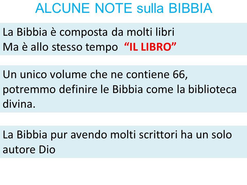 """ALCUNE NOTE sulla BIBBIA La Bibbia è composta da molti libri Ma è allo stesso tempo """"IL LIBRO"""" Un unico volume che ne contiene 66, potremmo definire l"""