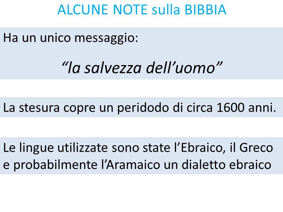 """ALCUNE NOTE sulla BIBBIA Ha un unico messaggio: """"la salvezza dell'uomo"""" La stesura copre un peridodo di circa 1600 anni. Le lingue utilizzate sono sta"""