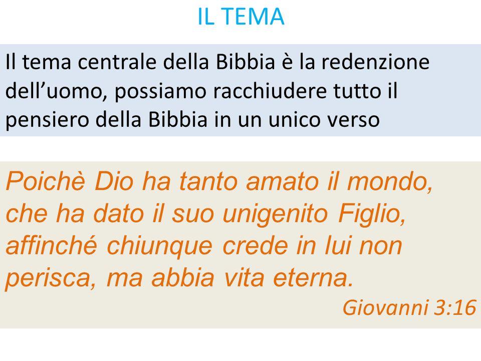 IL TEMA Il tema centrale della Bibbia è la redenzione dell'uomo, possiamo racchiudere tutto il pensiero della Bibbia in un unico verso Poichè Dio ha t