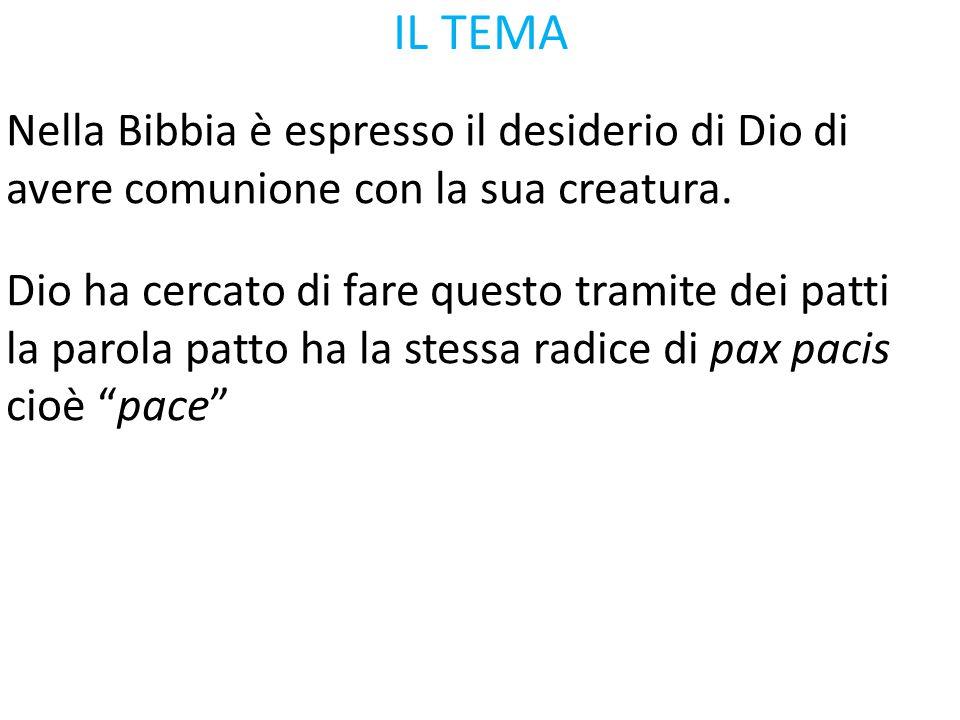 IL TEMA Nella Bibbia è espresso il desiderio di Dio di avere comunione con la sua creatura. Dio ha cercato di fare questo tramite dei patti la parola