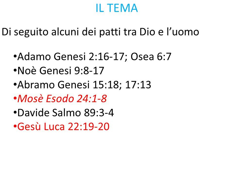 IL TEMA Di seguito alcuni dei patti tra Dio e l'uomo Adamo Genesi 2:16-17; Osea 6:7 Noè Genesi 9:8-17 Abramo Genesi 15:18; 17:13 Mosè Esodo 24:1-8 Dav