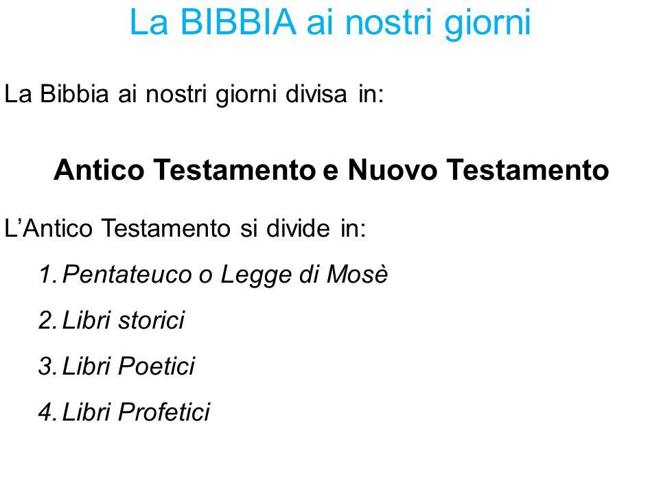 La BIBBIA ai nostri giorni La Bibbia ai nostri giorni divisa in: Antico Testamento e Nuovo Testamento L'Antico Testamento si divide in: 1.Pentateuco o