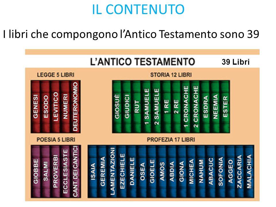 IL CONTENUTO 39 Libri I libri che compongono l'Antico Testamento sono 39