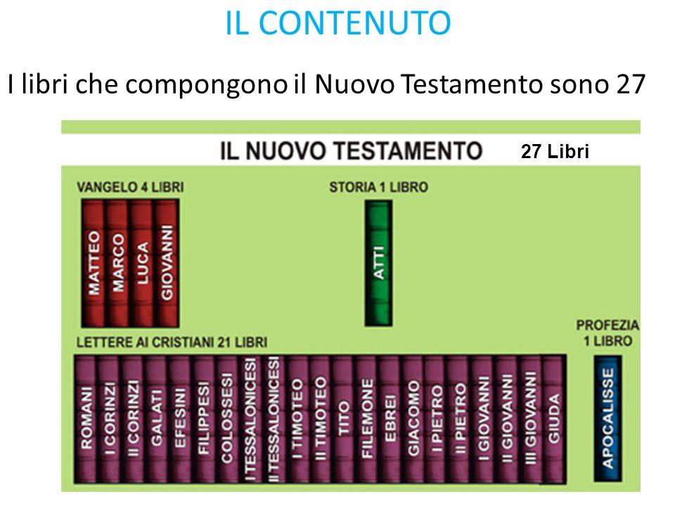 IL CONTENUTO 27 Libri I libri che compongono il Nuovo Testamento sono 27