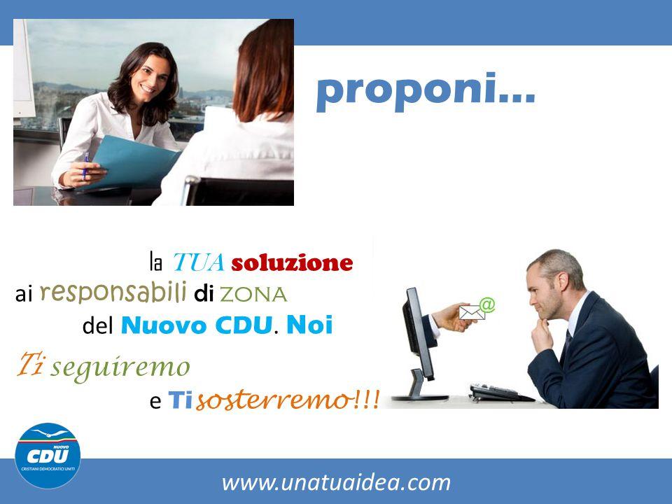 www.unatuaidea.com proponi… la TUA soluzione ai responsabili di zona del Nuovo CDU.