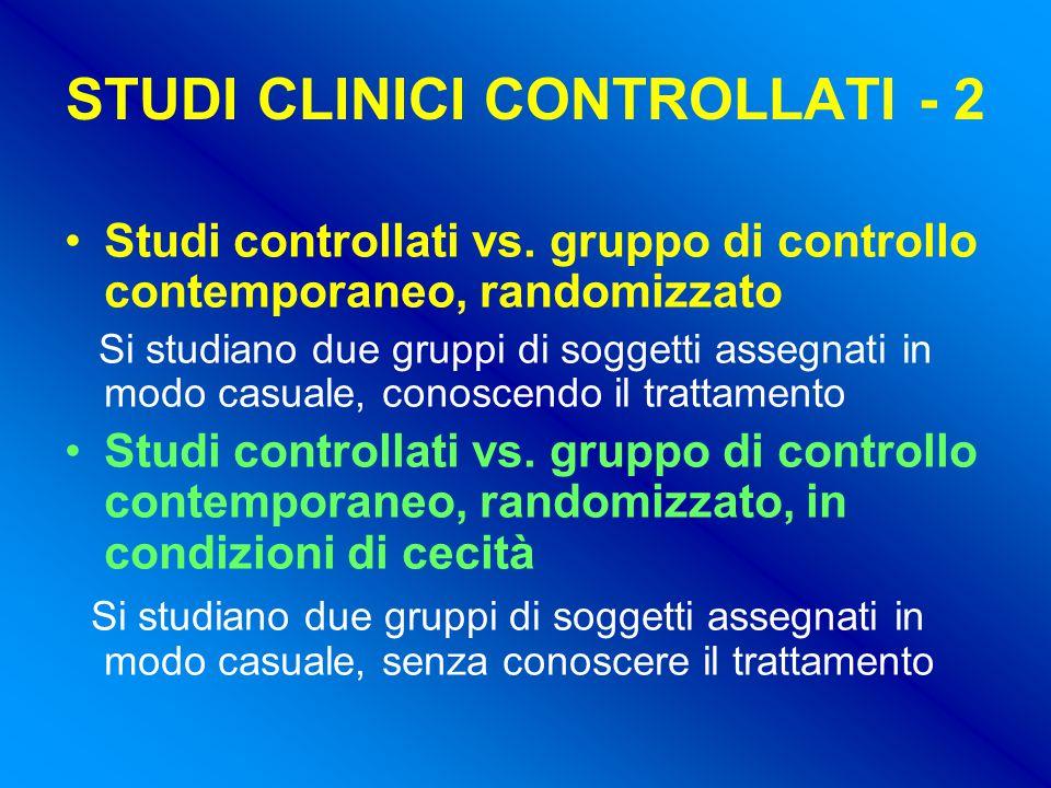 STUDI CLINICI CONTROLLATI - 2 Studi controllati vs.