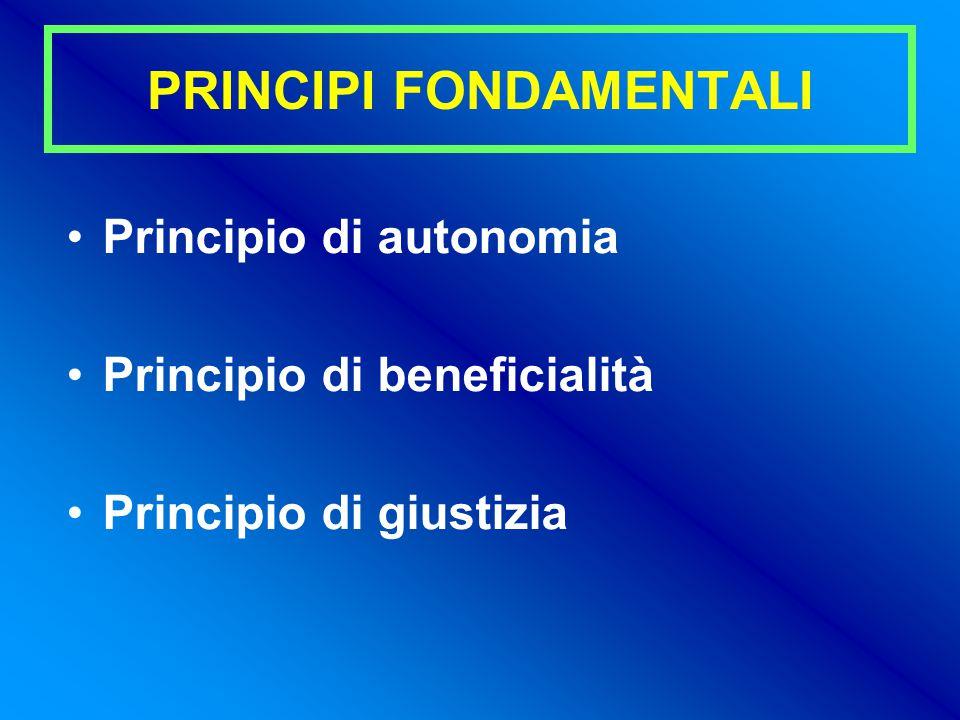 PRINCIPI FONDAMENTALI Principio di autonomia Principio di beneficialità Principio di giustizia