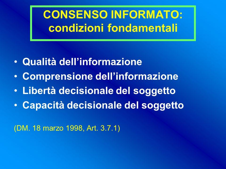 CONSENSO INFORMATO: condizioni fondamentali Qualità dell'informazione Comprensione dell'informazione Libertà decisionale del soggetto Capacità decisionale del soggetto (DM.