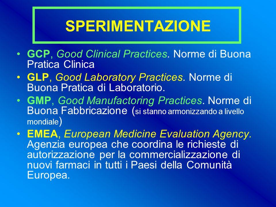 SPERIMENTAZIONE GCP, Good Clinical Practices.