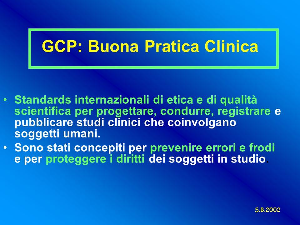 Standards internazionali di etica e di qualità scientifica per progettare, condurre, registrare e pubblicare studi clinici che coinvolgano soggetti umani.