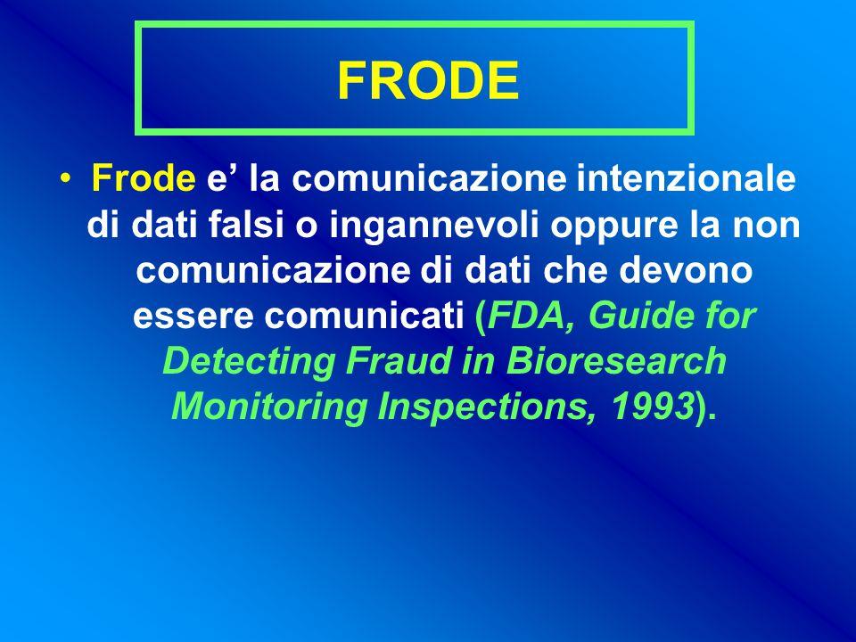 FRODE Frode e' la comunicazione intenzionale di dati falsi o ingannevoli oppure la non comunicazione di dati che devono essere comunicati (FDA, Guide for Detecting Fraud in Bioresearch Monitoring Inspections, 1993).
