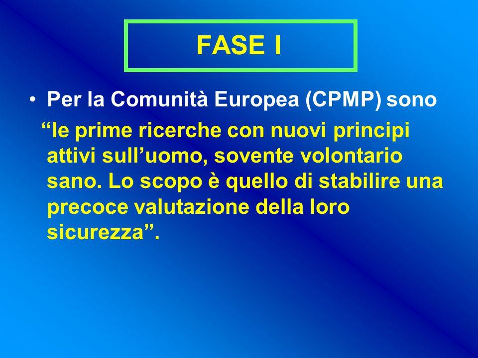 FASE I Per la Comunità Europea (CPMP) sono le prime ricerche con nuovi principi attivi sull'uomo, sovente volontario sano.