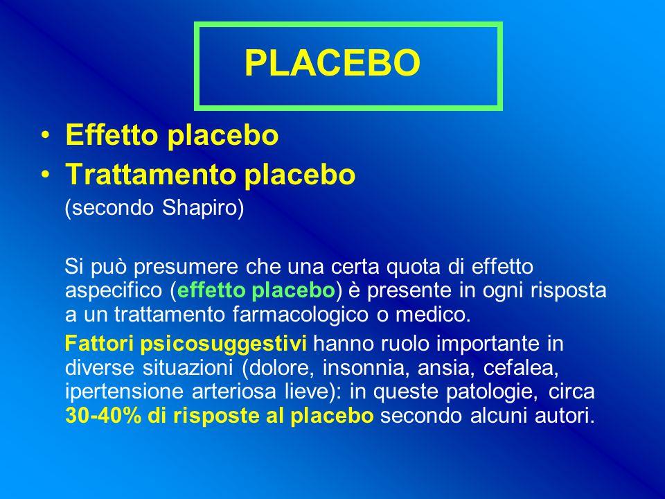 PLACEBO Effetto placebo Trattamento placebo (secondo Shapiro) Si può presumere che una certa quota di effetto aspecifico (effetto placebo) è presente in ogni risposta a un trattamento farmacologico o medico.