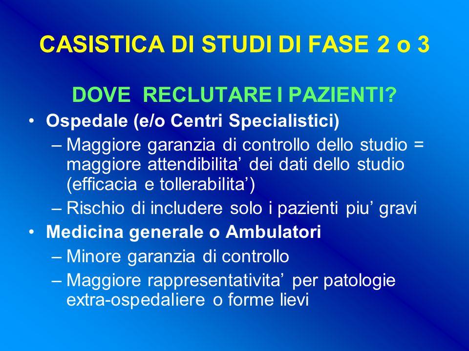 CASISTICA DI STUDI DI FASE 2 o 3 DOVE RECLUTARE I PAZIENTI.