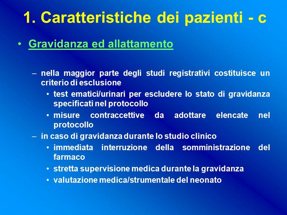 1. Caratteristiche dei pazienti - c Gravidanza ed allattamento –nella maggior parte degli studi registrativi costituisce un criterio di esclusione tes
