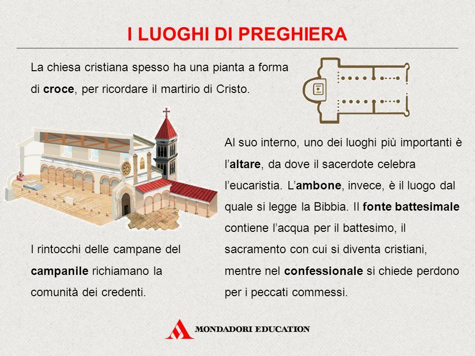 I LUOGHI DI PREGHIERA La chiesa cristiana spesso ha una pianta a forma di croce, per ricordare il martirio di Cristo. Al suo interno, uno dei luoghi p