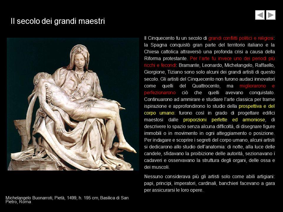Il secolo dei grandi maestri Il Cinquecento fu un secolo di grandi conflitti politici e religiosi: la Spagna conquistò gran parte del territorio itali