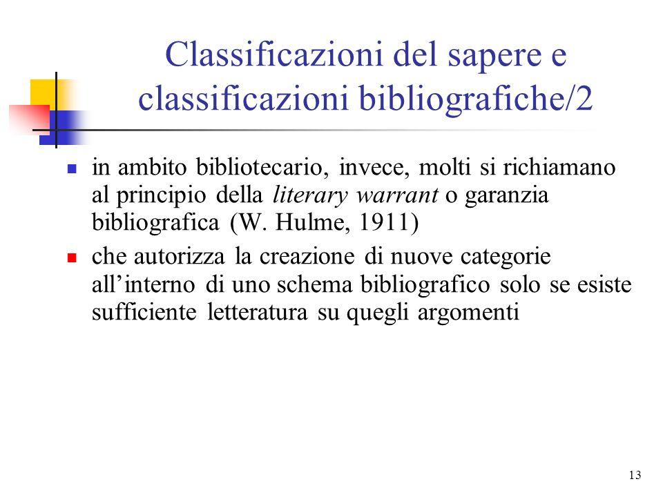 12 Classificazioni del sapere e classificazioni bibliografiche/1 Serrai sostiene la netta filiazione degli schemi bibliografici da quelli filosofici e