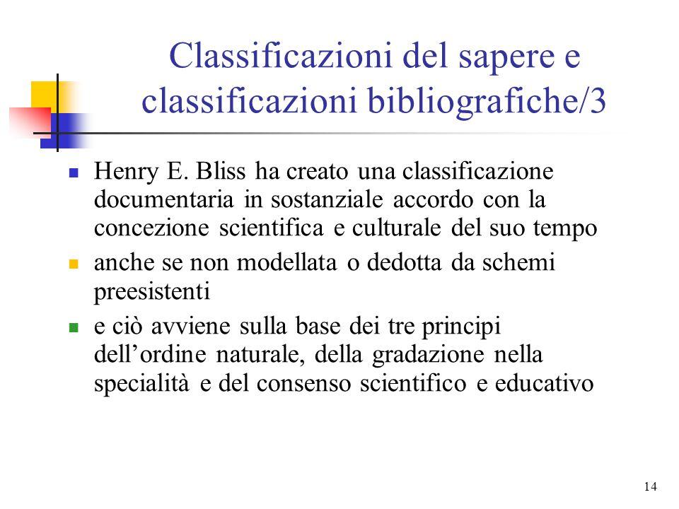 13 Classificazioni del sapere e classificazioni bibliografiche/2 in ambito bibliotecario, invece, molti si richiamano al principio della literary warr