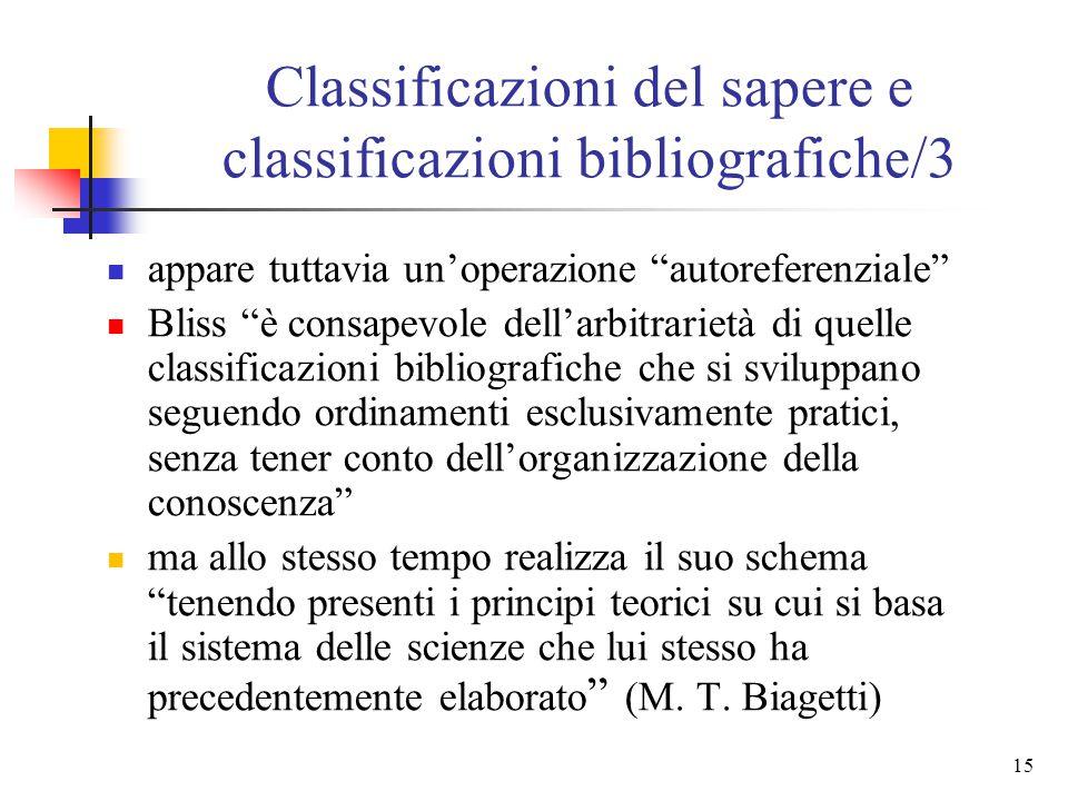 14 Classificazioni del sapere e classificazioni bibliografiche/3 Henry E. Bliss ha creato una classificazione documentaria in sostanziale accordo con