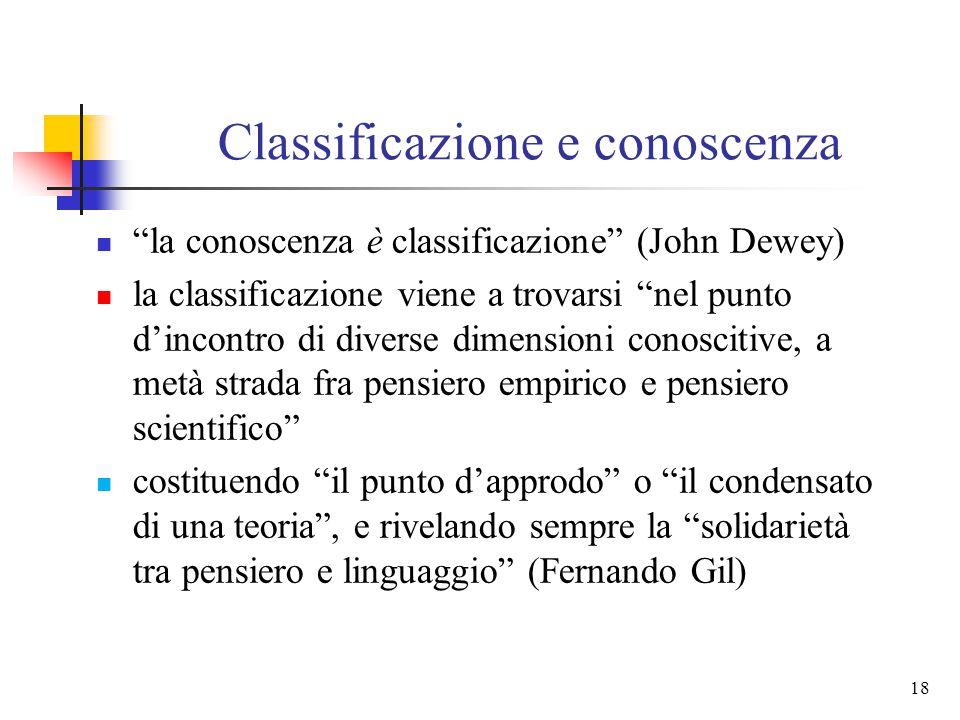 17 Classificazione e conoscenza la classificazione è connessa ad ogni manifestazione della realtà e risulta essenziale in ogni attività conoscitiva Ge