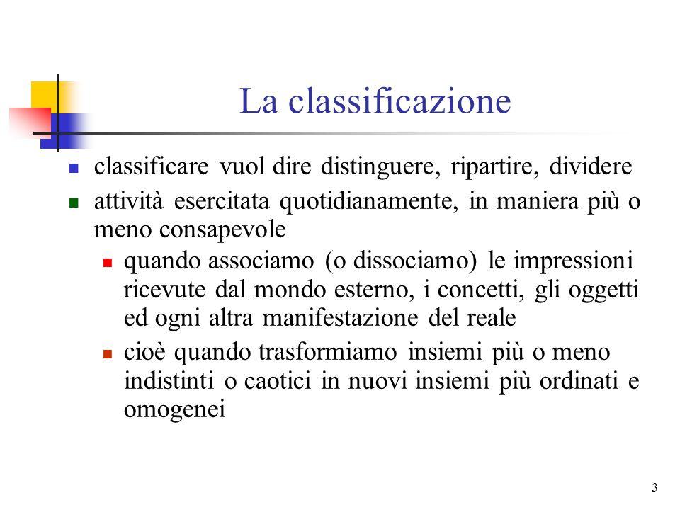 2 Di cosa parleremo 1. presupposti concettuali della classificazione 2. rapporti fra classificazioni filosofico-scientifiche e classificazioni bibliog